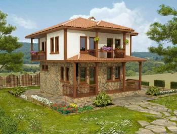 storey traditional Bulgarian house