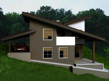 2-bedroom country villa, modern design rural villa plan